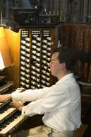 Martin Stacey preparing for his 25th Sept 2005 recital at Westminster Abbey
